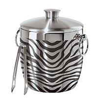 Oggi 7401 Stainless Steel Zebra Double Wall Ice Bucket with Tongs