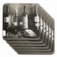 Vintage Wine Black & White Coasters