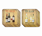 Vin Rouge/Vin Blanc Coaster Set