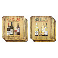 Vin Rouge/Vin Blanc Coaster Set