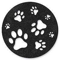 Black Paw Stomping - Felt Coasters
