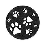 Black Paw Stomping - Felt Coasters