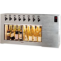 Magnum 8 Bottle Wine Dispenser Preservation Unit - Polished Stainless Steel #8 Finish