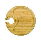 Bamboo Party Plate with Built-In Stemware Holder