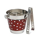 Alluring Red Mosaic Ice Bucket w/ Tongs