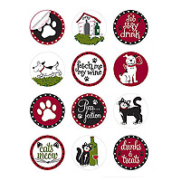 Pet Party Wine Glass Stick'ems Wine Tags
