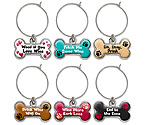 Drink Wine Dog Bones My Glass® Wine Charms