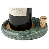 Sommelier's Green Marble Wine Bottle Coaster