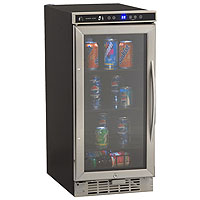 3.0 Cu. Ft. Built-In Deluxe Beverage Center - Black Cabinet and Stainless Steel Frame Glass Door