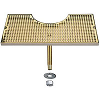 SS Zeus Tower Surface Mount Drip Tray w/PVD Brass Grid