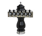 Silva Ceramic Six Faucet Draft Beer Tower - Black with Chrome Accents