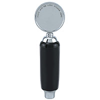 Black Plastic Draft Beer Tap Handle with Chrome Badge and Ferrule