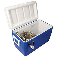 Single Faucet Jockey Box - 120' Stainless Steel Coil - Blue
