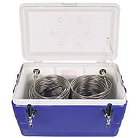 Double Faucet Jockey Box - 48 Qt., Two 120' SS Coils - Blue