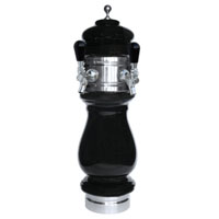 Silva Ceramic Double Faucet Draft Beer Tower - Black with Chrome Accents