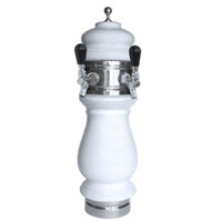 Silva Ceramic Double Faucet Draft Beer Tower - White with Chrome Accents