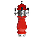 Silva Ceramic Triple Faucet Draft Beer Tower - Red with Chrome Accents