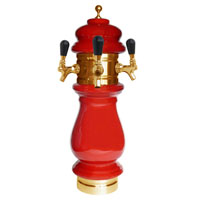 Silva Ceramic Triple Faucet Draft Beer Tower - Red with Gold Accents