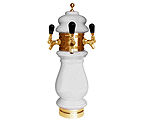 Silva Ceramic Triple Faucet Draft Beer Tower - White with Gold Accents
