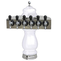 Silva Ceramic Six Faucet Draft Beer Tower - White with Chrome Accents