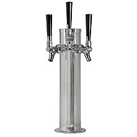 Chrome Triple Faucet Draft Beer Tower - 3 Inch Column