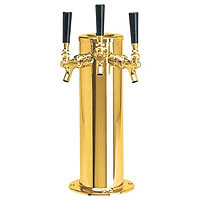 PVD Brass Glycol Cooled Triple Faucet Draft Beer Tower - 4 Inch Column