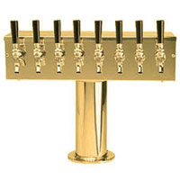 PVD Brass Eight Faucet T-Style Draft Tower - 4 Inch Column