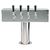 Stainless Steel Four Faucet T-Style Draft Tower - 4 Inch Column