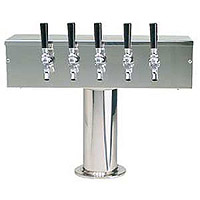 Scratch & Dent - MicroMatic DS-355-PSS Stainless Steel Five Faucet T-Style Draft Tower - 4 Inch Column