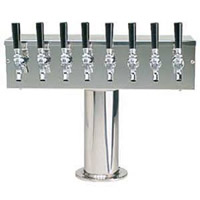 Stainless Steel Eight Faucet T-Style Draft Tower - 4 Inch Column - Glycol Cooled