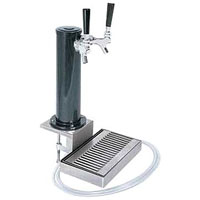 Black ABS Plastic Dual Faucet Clamp-On Draft Beer Tower