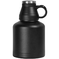 The Wolf - 32 oz Double Wall Stainless Steel Screw Cap Beer Growler with Black Finish