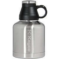The Wolf - 32 oz Double Wall Stainless Steel Screw Cap Beer Growler with Kegco Logo