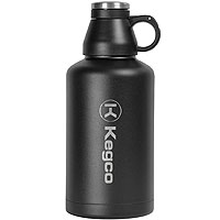 The Wolf - 64 oz Double Wall Stainless Steel Scew Cap Beer Growler with Black Finish and Kegco Logo