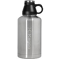 The Wolf - 64 oz Double Wall Stainless Steel Screw Cap Beer Growler with Kegco logo