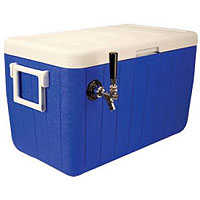 Single Faucet Jockey Box - 48 Qt. Cold Plate Cooler - Blue