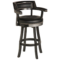 Bar & Shield Flames Bar Stools w/Backrest - Vintage Black