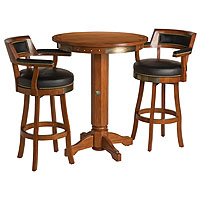 Bar & Shield Flames Pub Table & Backrest Stool Set - Heritage Brown