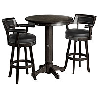 Bar & Shield Flames Pub Table & Backrest Stool Set - Vintage Black