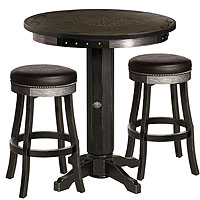 Harley-Davidson® HDL-13202-V - Bar & Shield Flames Pub Table & Bar Stool Set - Vintage Black