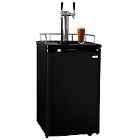 Dual Faucet Javarator Cold-Brew Coffee Dispenser with Black Cabinet and Door