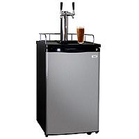 Dual Faucet Javarator Cold-Brew Coffee Dispenser with Black Cabinet and Stainless Steel Door