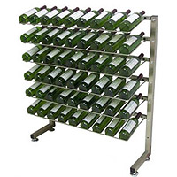 VintageView Select IDR3-H-PRS-K 54 Bottle One-sided Freestanding Display Rack - Satin Black Finish