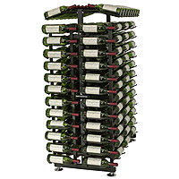 24 Bottle Island Display Wine Rack Endcap - Satin Black Finish