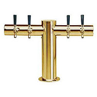 Metropolis PVD Brass Four Faucet T-Style Draft Tower - 4 Inch Column - Glycol Cooled