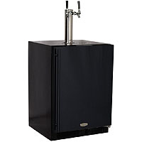 Kegerator Cabinet with X-CLUSIVE 2 Faucet Home Brew Keg Tapping Kit - Black