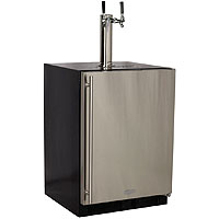 Kegerator Cabinet with 2 Faucet Home Brew Keg Tapping Kit - Black/Stainless Steel