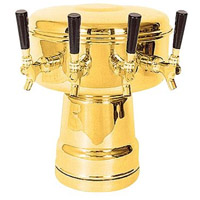 Brass 4-Faucet Mushroom Draft Beer Tower - 7-1/2