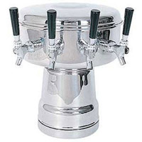 Chrome 4-Faucet Mushroom Draft Beer Tower - 7-1/2