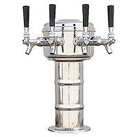 Chrome 4 Faucet Mini-Mushroom Draft Beer Tower - 4 Inch Column